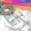 Stock Photo: Plans, paint, gears