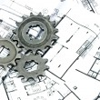 Stock Photo: Gears and plans