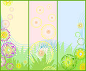 Three different floral banners — Stock Vector