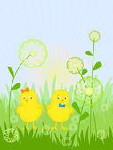 Easter card with a chicks — Stock Vector