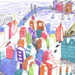 City colored drawing, concept — Stock Photo #1655191