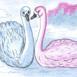 Two swans, colored pencil drawing — 图库照片
