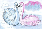 Two swans, colored pencil drawing — Photo