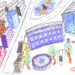 City colored drawing, concept — Stock Photo #1977405