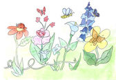 Watercolors flowers sketch — Stock Photo