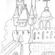 Castle drawing — Stock Photo