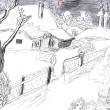 Winter village drawing - Stock Photo