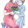 Mother and son, drawing — Stock Photo