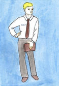 Business men watercolors drawing — Stock Photo