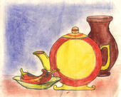 Still-life watercolors drawing — Stock Photo