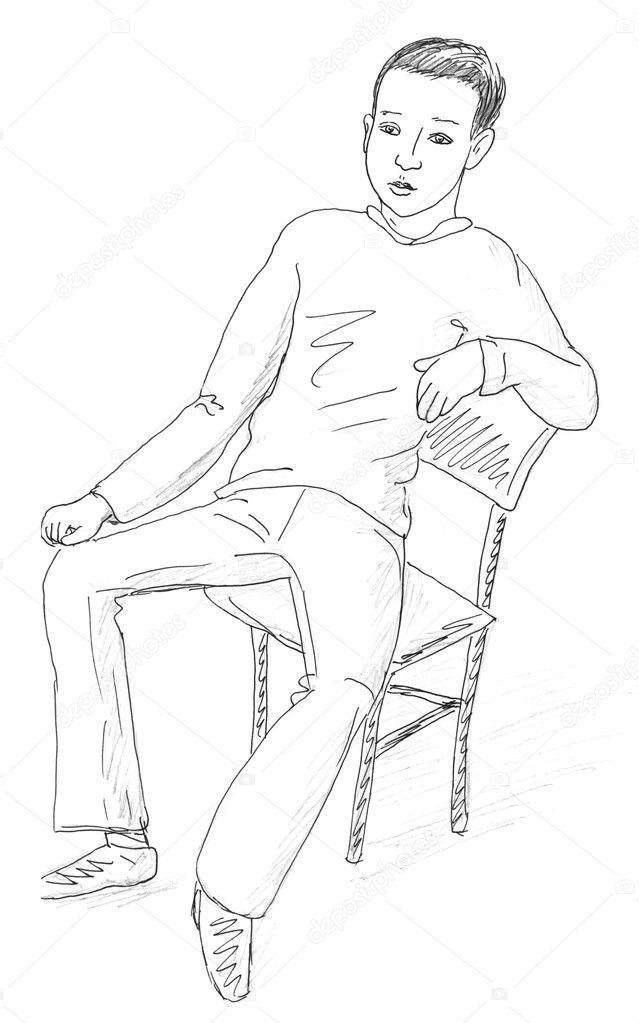 Рисунок карандашом мальчик сидит