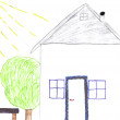 Kids drawing of home - Stock Photo