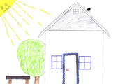 Kids drawing of home — Stock Photo
