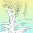 Spring thaw, tree drawing — Stock Photo