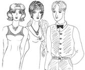 Fashionable girls and man, sketch — Stock Photo