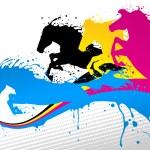 Horse line cmyk — Stock Vector