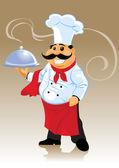 Chef kok en plaat — Stockvector