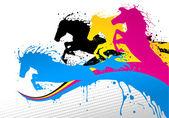 Koně linie cmyk — Stock vektor