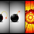 Bomb in three actions - Imagens vectoriais em stock
