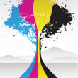 Cmyk color tree - Stock Vector