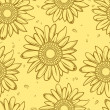 Stok Vektör: Sunflower seamless background