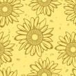 Stock Vector: Sunflower seamless background