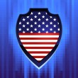 American shield on pixels background — Imagen vectorial