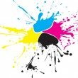 CMYK paint splat with drops - Stockvectorbeeld