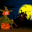 Halloween's witch and pumpkin - Imagen vectorial
