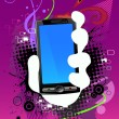 Abstract background and cell phone - Stockvectorbeeld