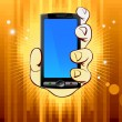 Mobile phone in hand on gold backgroun - Stockvectorbeeld