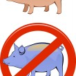 Healthy and sick pig - Imagen vectorial