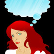 Red girl thinks - Imagen vectorial