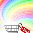 Shopping cart and shine background - Imagen vectorial
