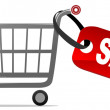 Shopping cart with sale label — Stock Vector