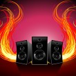 Music and fire wave - Stok Vektr