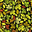 Autumn leaf seamless on black - Stok Vektr