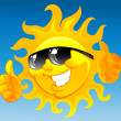 Vector de stock : Cartoon sun in sunglasses