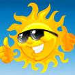 Cartoon sun in sunglasses — Stock Vector