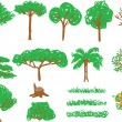 Children&#039;s drawing - tree and grass - Stock Vector