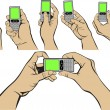 Hands and mobile — Imagen vectorial