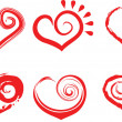 Six shape of heart - Image vectorielle