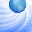 Globe and blue twisted lines — Imagen vectorial