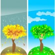 Four season tree — Stockvectorbeeld