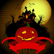Royalty-Free Stock Vector Image: Halloween pumpkin and scary house