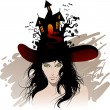 Halloween's beautiful witch - Stock Vector