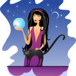 Graceful witch and black cat — Stock Vector