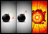 Bomb in three actions — Stock Vector