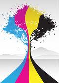 Cmyk-färg träd — Stockvektor