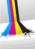 Lijnen van cmyk-kleuren verf — Stockvector